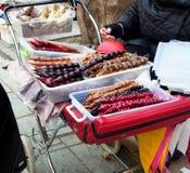 Street trade of delicious churchkhela in Georgia royalty free stock photo