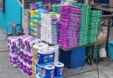 Street trade in industrial goods, laundry detergents, toilet paper. Quito, Ecuador. stock photos