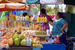 Market stalls in Playa del Carmen, Mexico. Street trade in Playa del Carmen Mexico Stock Photography