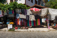 Street trade in traditional Turkish clothes, souvenirs and gifts along the way Royalty Free Stock Images