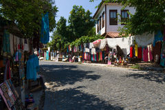 Street trade in traditional Turkish clothes, souvenirs and gifts along the way Stock Photography