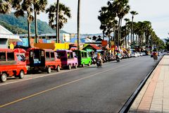 Street trading, tuk-tuk and rent scooters on the srteet  in Phuket. royalty free stock photography