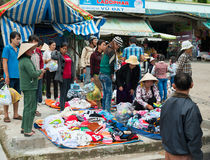 Street trading of warm clothes, Vietnam Stock Photo