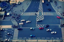 Street Traffic. Arial view of a street with traffic Stock Images