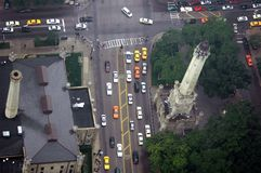 Street Traffic from Above. Taxis and cars on a busy avenue in Chicago as seen from above Royalty Free Stock Photography