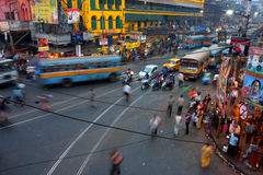 Street traffic blurred in motion at evening Royalty Free Stock Images