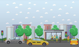 Street traffic concept vector illustration, flat design Royalty Free Stock Photos
