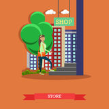 Street traffic concept vector illustration, flat design. Vector illustration of woman going shopping at store. Street traffic and shopping concept design element royalty free illustration