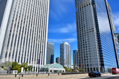 Street and traffic, downtown Chicago. City modern buildings, Chicago, Illinois, United States Royalty Free Stock Photo