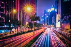 Street traffic in Hong Kong at night Royalty Free Stock Photos