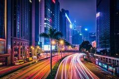 Street traffic in Hong Kong at night Royalty Free Stock Images