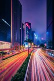 Street traffic in Hong Kong at night Stock Photo