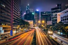 Street traffic in Hong Kong at night Stock Photos
