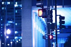 Street Traffic Lights. In Downtown Chicago,Illinois USA. American Midwest. Cities by Night Photo Collection Stock Photography