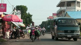 Street traffic,  mekong, cambodia, southeast asia stock footage