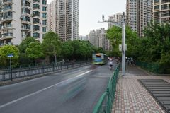 Street traffic and modern buildings in Putuo district. Residential skyscrapers in Shanghai, China.  stock images