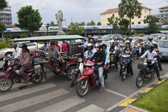 Street traffic in Pnom Penh Royalty Free Stock Photography