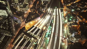 Street traffic and railway at London Bridge station from above stock video footage