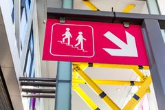 Street traffic signs on the street. Traffic sign on the street showing underground stairs nearby. stock photo