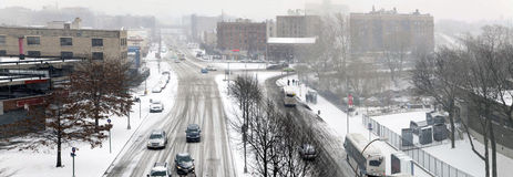 Street traffic during snow storm in the Bronx. Street traffic during snow storm along Tremont avenue and 174th street. Taken December 12, 2014 in the Bronx, New royalty free stock photos
