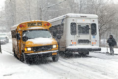 Street traffic during snow storm in New York Royalty Free Stock Image