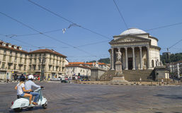 Street traffic in Turin, Italy. The Gran Madre di Dio Church in Turin. Stock Image
