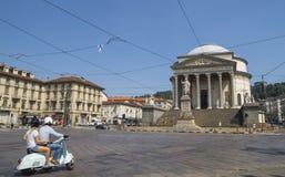 Street traffic in Turin, Italy. The Gran Madre di Dio Church in Turin. Stock Image