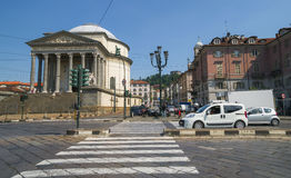 Street traffic in Turin, Italy. The Gran Madre di Dio Church in Turin. Stock Photography
