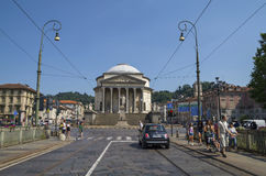 Street traffic in Turin, Italy. The Gran Madre di Dio Church in Turin. Stock Photos