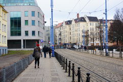 Street with tram rails Royalty Free Stock Photo