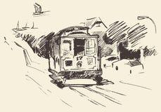 Street with Tram Vintage Engraved Illustration Stock Image