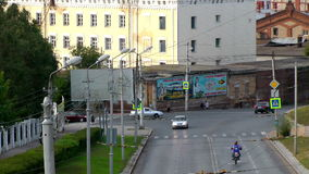 Street transport. Urban street transport.  Wide timelapse shot. Samara. Russia stock video