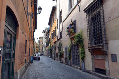 Street in Trastevere in Rome. Royalty Free Stock Images