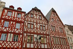 Street in Trier, Germany. Medieval timber framed houses in Trier, Germany Stock Image