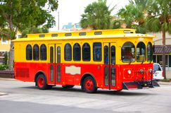 Street trolley powered by biodiesel. Environmentally friendly public transportation Stock Photography