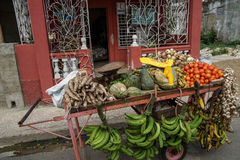 Street trolley vith Vegetable and fruit Royalty Free Stock Photography