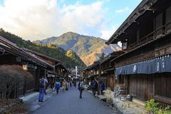 Street in Tsumago city, on the Nakasendo trail stock image