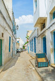 The street of Tunis. TUNIS, TUNISIA - SEPTEMBER 2, 2015: Medina of Tunis is the madieval maze of the narrow streets and alleys with old houses and scenic Royalty Free Stock Photography