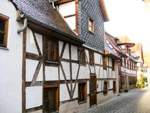 Typical Bavarian fachwerk houses, Furth, Germany. Street with the typical Bavarian fachwerk houses in old town of Furth, Germany Stock Photos