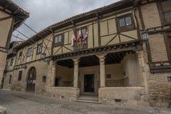 A street with typical half-timbered houses  of Penaranda de Duer. Penaranda de Duero, Burgos, Spain April 2015:  a street with typical half-timbered houses  of Royalty Free Stock Images
