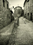 Street of Ujué. Ujué is an isolated old town in the mountains of Navarra Stock Photography