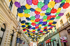 Street with umbrellas Stock Photography