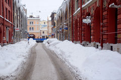 Street Under Snow in Saint-Petersburg. Uncleaned street in St.Petersburg on the day of the Russian Christmas on the 7th of January, 2010, Russia Stock Photo