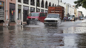 Street under water after a tropical rain. In Valladolid, Mexico Stock Photography