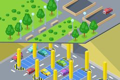 Street underground car parking. Vector isometric 3D illustration. Urban building construction and city transport concept. Street underground car parking. Vector Stock Photo