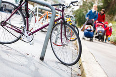 Street urban scenery with lots of bikes Royalty Free Stock Images