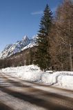 Street in Val Ferret, Courmayeur, Aosta Valley, Italy Stock Photography