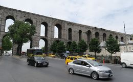 Street at Valens Aqueduct in Istanbul-Fatih, Turkey Stock Photos