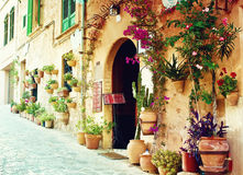 Street in Valldemossa village in Mallorca Stock Images