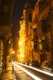 Street in Valletta Malta at night Stock Photo